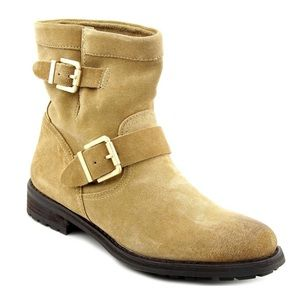 Vince Camuto Rubina Buckle Suede Ankle Moto Boots